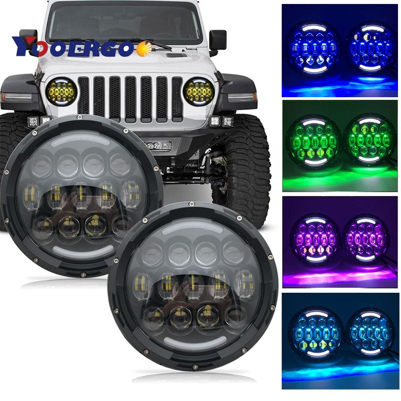"Faros LED de 7 ""con control remoto RGB de ajuste de Halo giratorio para Jeep Wrangler JK LJ Hummer H1 H2 de 1997 a 2017, faro DRL Drivi"