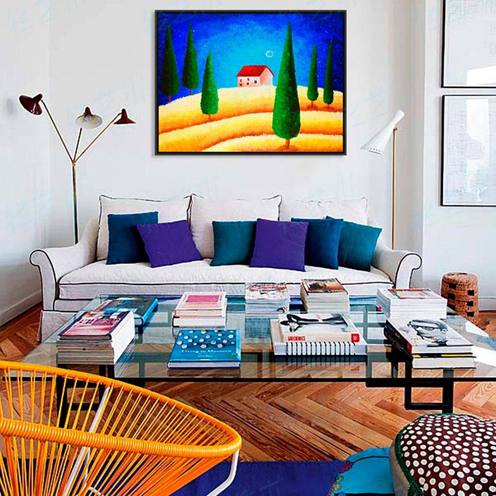 星月夜カラフルなファンタジー赤い家a4大アートプリントポスターコテージ壁絵のキャンバスの油絵なしフレームホームインテリア