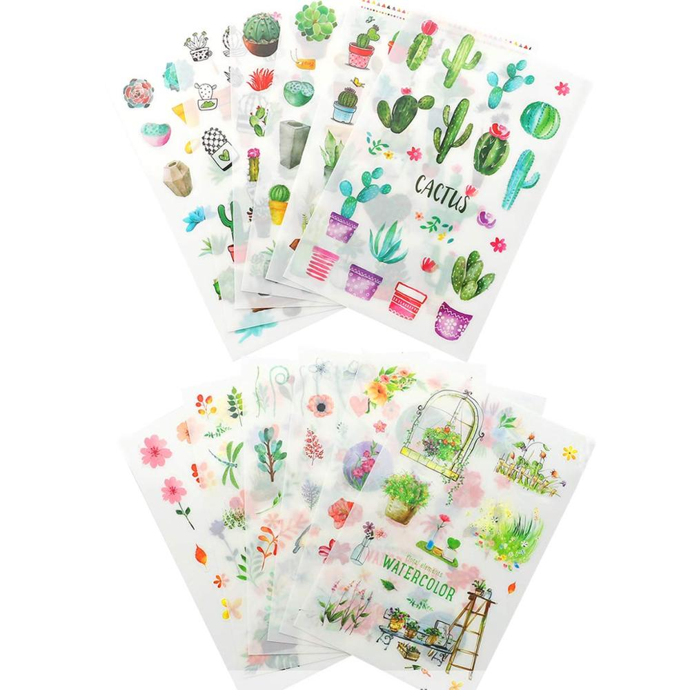 6-lenzuola-150-pcs-verde-pianta-di-cactus-adesivi-decorativi-scrapbooking-etichetta-bastone-diario-di-cancelleria-album-adesivi-giornale