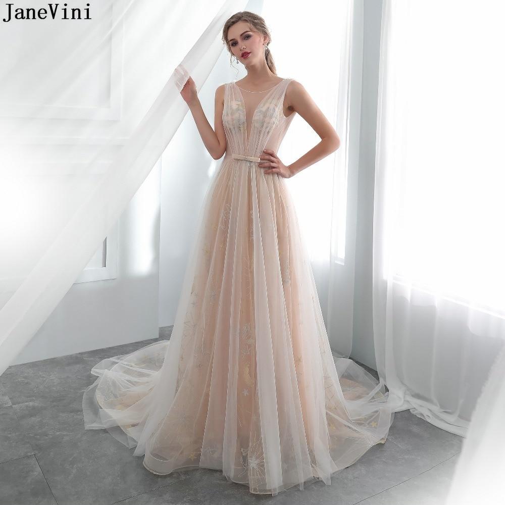 JaneVini-Vestidos largos de tul para dama de honor, vestidos sexys transparentes con...