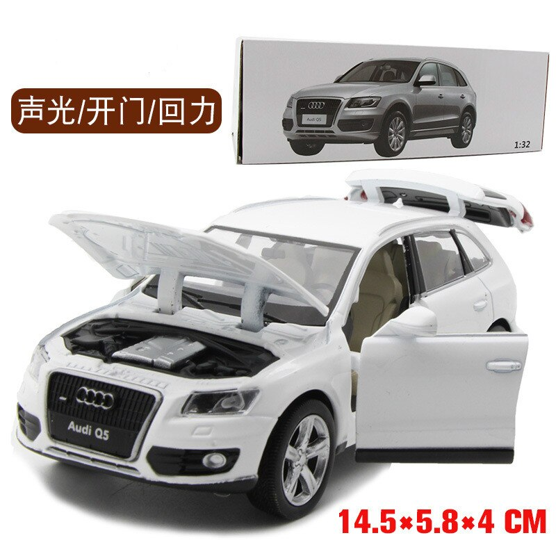 High simulation 1:32 Q5 Alloy Pull Back Toy Car Model Musical Flashing FFour Open The Doors Diecast Metal For Kids Toys