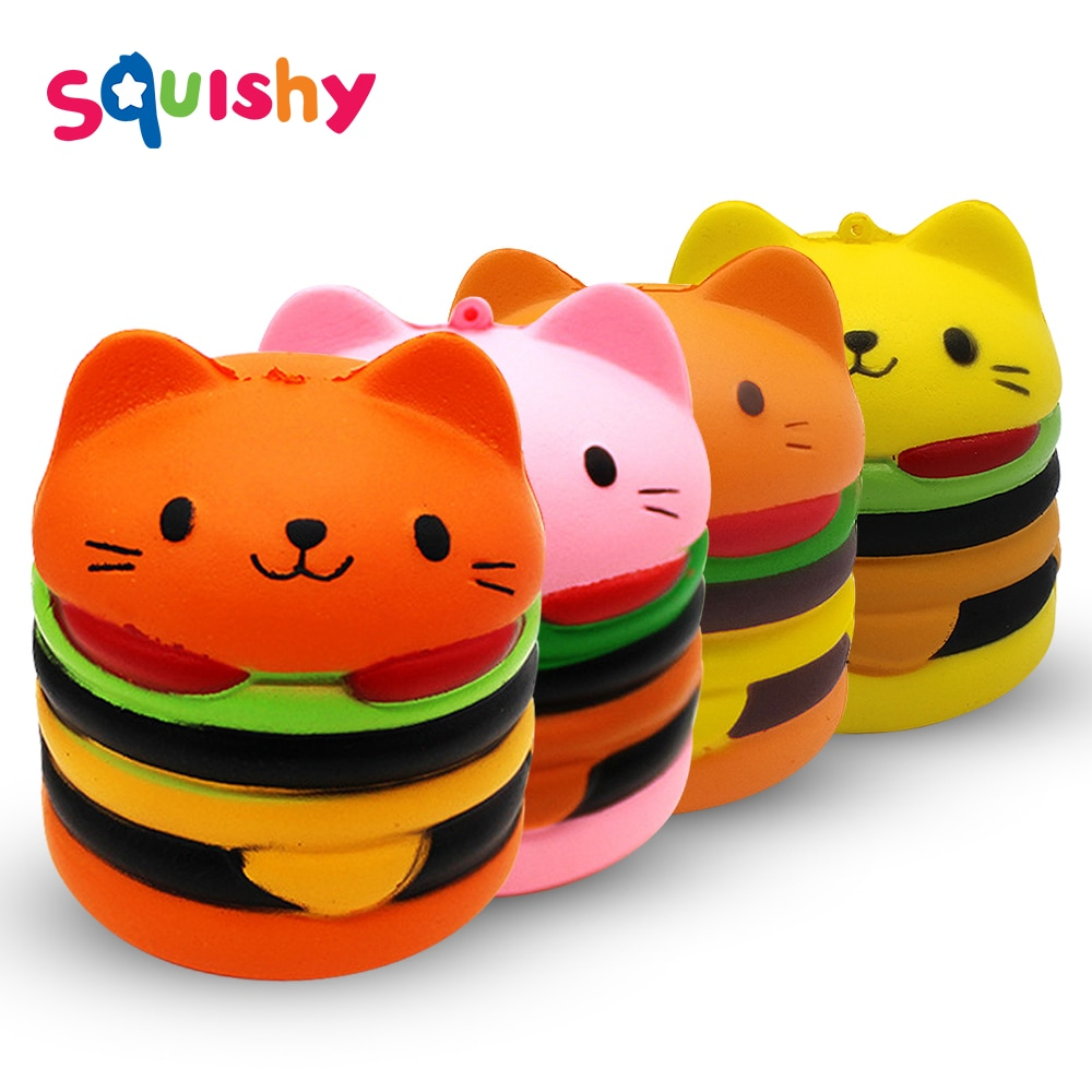 Squishy hamburguesa gato antiestrés Squishe deportes y entretenimiento novedad mordaza juguetes Anti-estrés Popular apretar alivio del estrés Juguetes