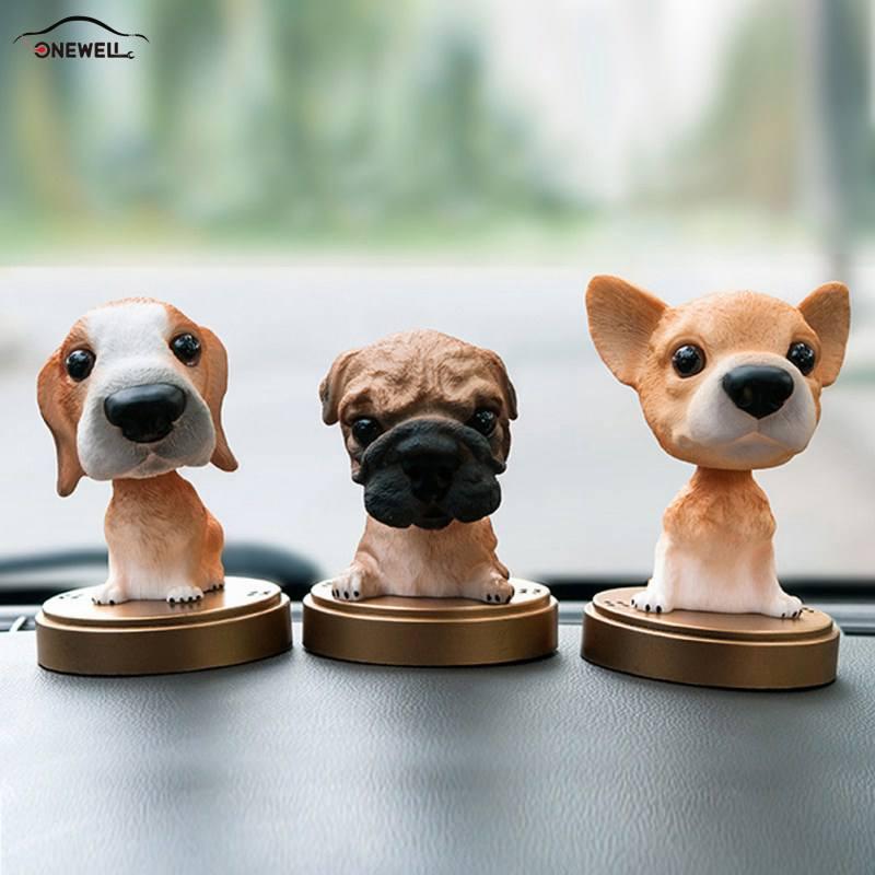 ONEWELL Animal oscilante animado Bobble coche de juguete decoración Nodding resina cachorro sacude la cabeza del perro que mueve los accesorios del coche del perro