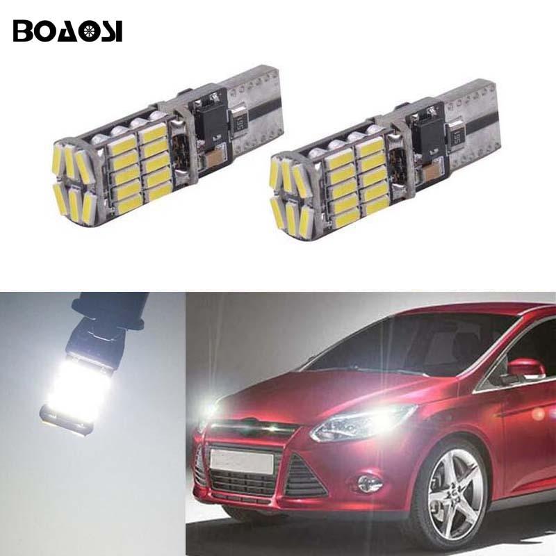 2x T10 W5W светодиодные клиновидные габаритные лампы, лампы для Ford Focus 2 1 Fiesta Mondeo 4 3 Transit Fusion Kuga Ranger Mustang KA S-max