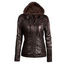Automne et hiver veste de Moto à capuche amovible pour femme veste en simili cuir Pu Juniors veste de Moto 6xl 7xl