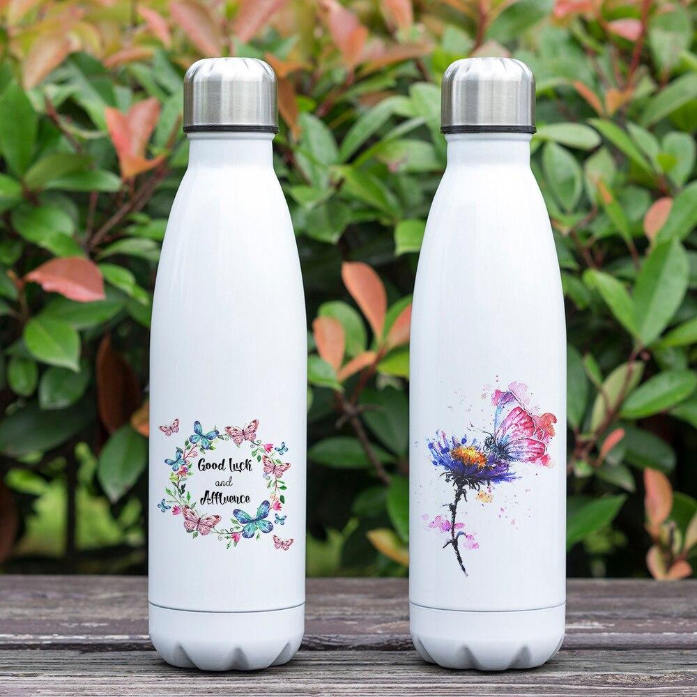 Hermoso diseño colorido mariposa tema taza de vacío 17oz obra de arte imprimir botella aislante termo de acero inoxidable de doble pared
