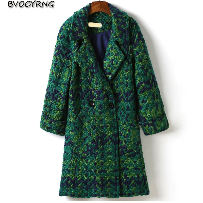 2018 invierno cálido Cachemira de cuadros acolchado de lana mujer mezcla de lana abrigo de moda de talla grande de mujer larga prendas de vestir exteriores Casual chaqueta de las señoras
