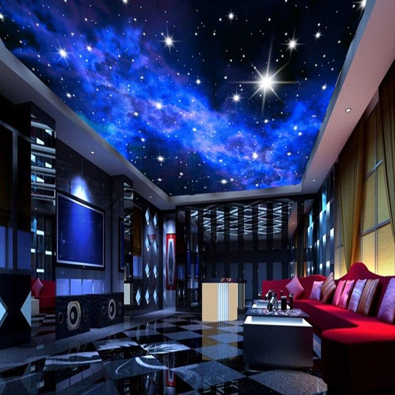 Фотообои на заказ, 3D потолочные обои со звездочкой, 3D обои для гостиной, спальни, КТВ, бар, Потолочная настенная живопись, нетканые обои для росписи