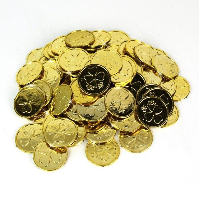 ¡Producto en oferta 2020! Monedas de plástico dorado con decoración divertida para fiesta de la serie pirata, Monedas de juego de mesa, monedas doradas para niños, 100 artículos