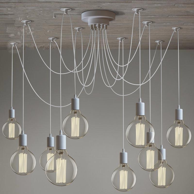 Современные потолочные светильники в стиле ретро, с белыми люстрами, 6-10 рычагов, Регулируемая лампа Эдисона, E27, светильник в стиле «сделай с...