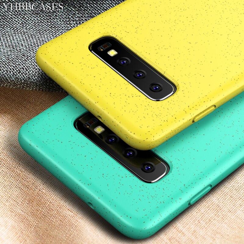 YHBBCASES para Samsung Galaxy S10 Plus parejas Color sólido suave funda para Samsung S10e mezcla de trigo paja cubierta de teléfono de silicona
