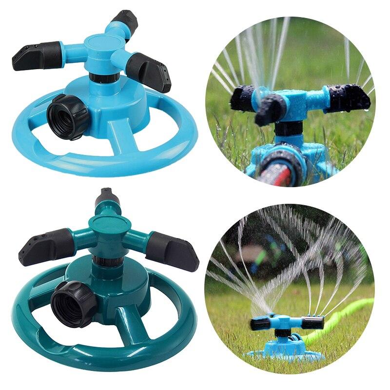 Aspersores de jardín giratorios circulares de 360 grados, riego automático de césped, aspersor de agua, 3 boquillas, manguera de tres brazos para jardín