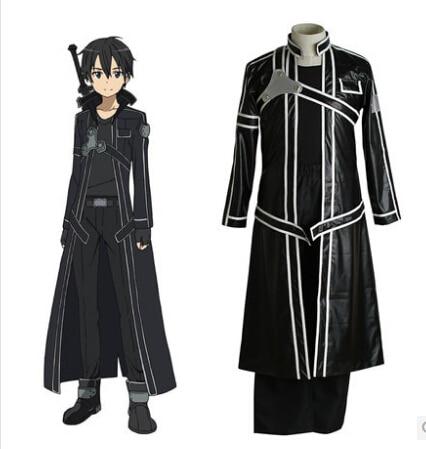 Costume Fantasias spada arte online Kirigaya Kazuto costume cosplay per gli uomini Trincea di Cuoio del Cappotto vestiti anime costume di carnevale