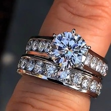 Cristal grande piedra anillo de moda bohemia de la Reina Color plata anillos de compromiso de novia para las mujeres promesa amor anillo dedo