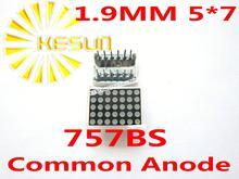 FREE SHIPPING 10PCS x 1.9MM 5X7 Red Common Anode LED Dot Matrix Digital Tube Module 757BS LED Display Module Light Beads