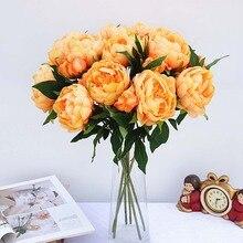 Fleurs artificielles pivoine en soie   Fausse feuille, fleurs décoratives dautomne pour la maison et mariage, produits ménagers, fausses plantes