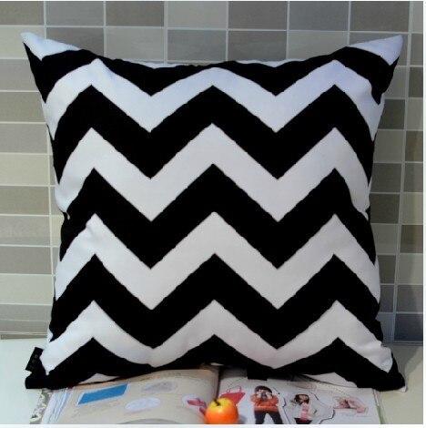 45*45 cm decoración del hogar europeo negro blanco Chevron Zigzag onda Digital impresión sobre cojín funda de cojín
