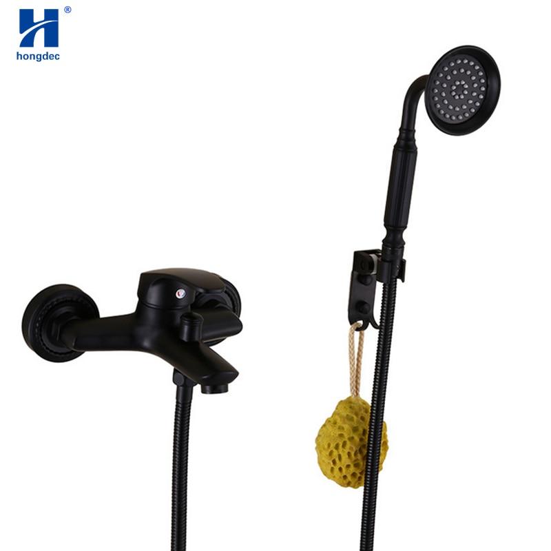 Hongdec-حنفية حمام نحاسية مثبتة على الحائط ، سوداء ، مثبتة يدويًا مع حوض استحمام ، مجموعة صنبور خلاط