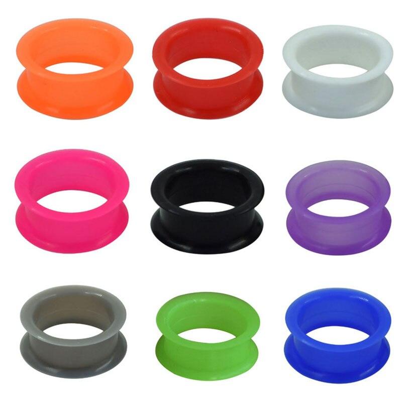 2 uds. Piercing para oreja de silicona fina y Flexible de 6 a 20mm, dilatador para oreja de piel, dilatador hueco para oreja, joyería para Piercing corporal