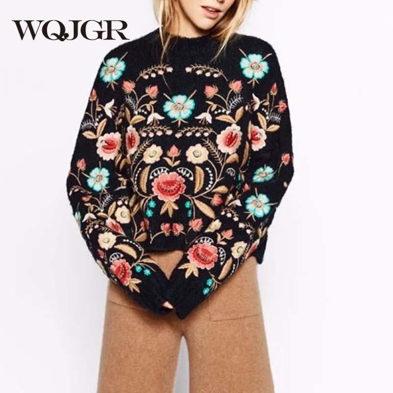 WQJGR 2021 بلوزة الخريف والشتاء طويلة الأكمام سترة المرأة س الرقبة طوق الزهور التطريز سترة المرأة الكورية فضفاضة