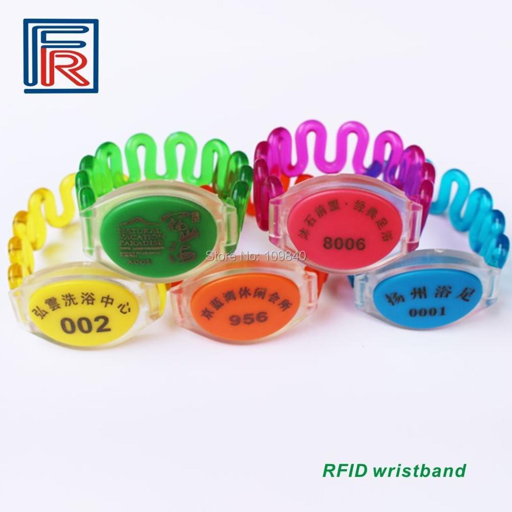 100 Uds 125khz RFID armario casillero pulseras sauna Resort Hotel pulsera impermeable con EM