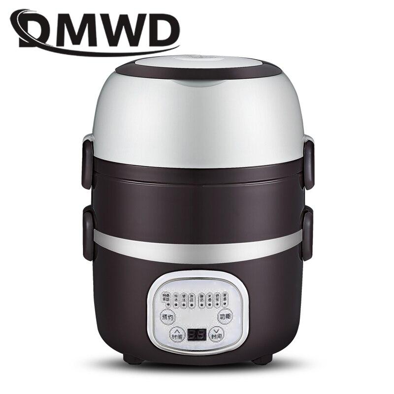 DMWD Mini arrocera portátil 2/3 capas caja de almuerzo vaporera térmica olla de cocina alimentos calefacción eléctrica fiambrera contenedor EU