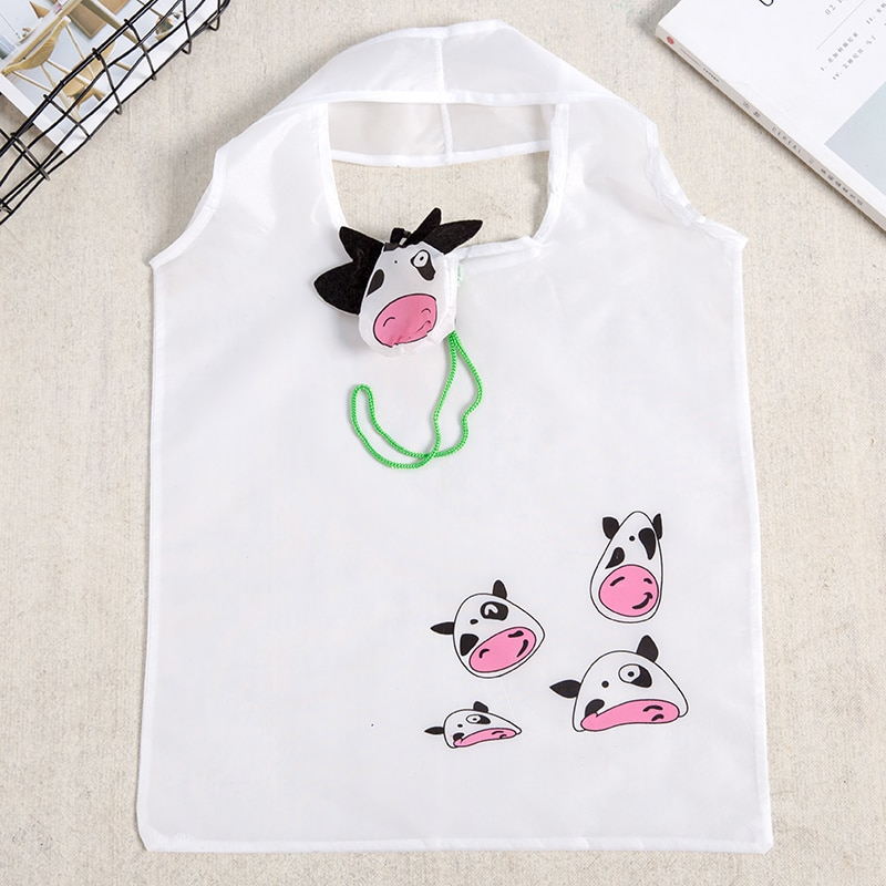 Little Cow Cute Animal Folding Shopping Bag Eco Friendly Ladies Gift Foldable Reusable Tote Bag Port