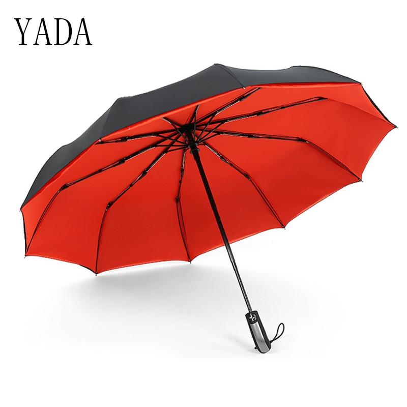 Marca de Alta Ensolarado e Chuvoso Guarda-chuva do Carro para as Mulheres à Prova Yada Qualidade Guarda-chuva Chuva Feminino Automático Vento Dobrável Guarda-sóis Ys028