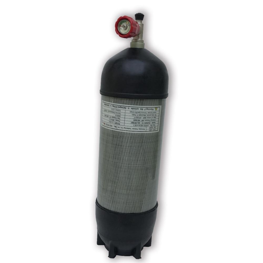 AC109111 Acecare 9L 300Bar cilindro de fibra de carbono/PCP Paintball tanque con válvula roja/botas de goma Airsoft/Airforce Condor/Rifle