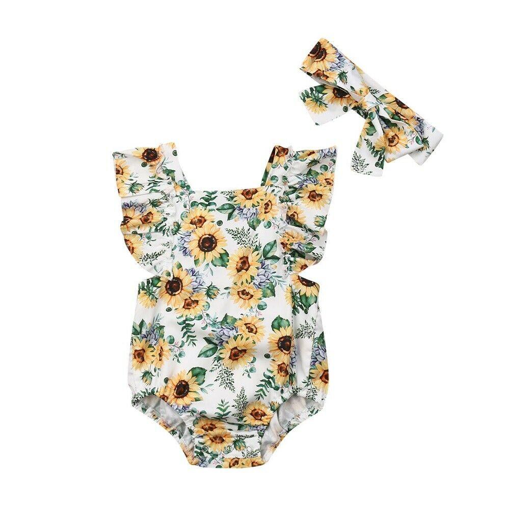 Ayçiçeği Bebek Kız Romper Tulum Tulum Bebek Çocuk Kolsuz Tek parça Sunsuit Kıyafetler yaz giysileri