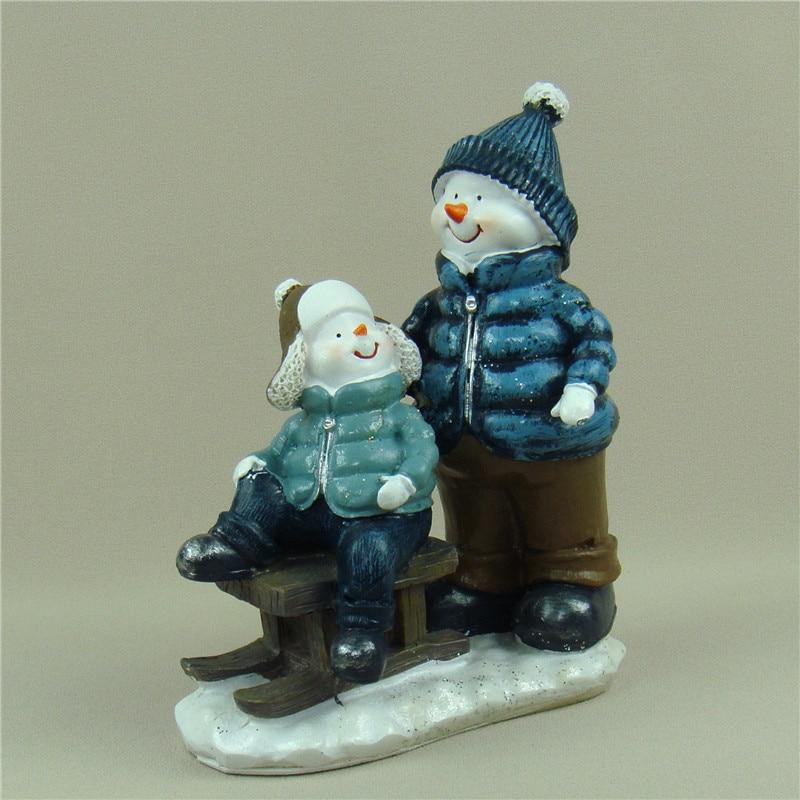 Jolly muñeco de nieve miniatura reminiscente resina Sled modelo manualidades adornos accesorios para decoración de habitación y regalo de recuerdo
