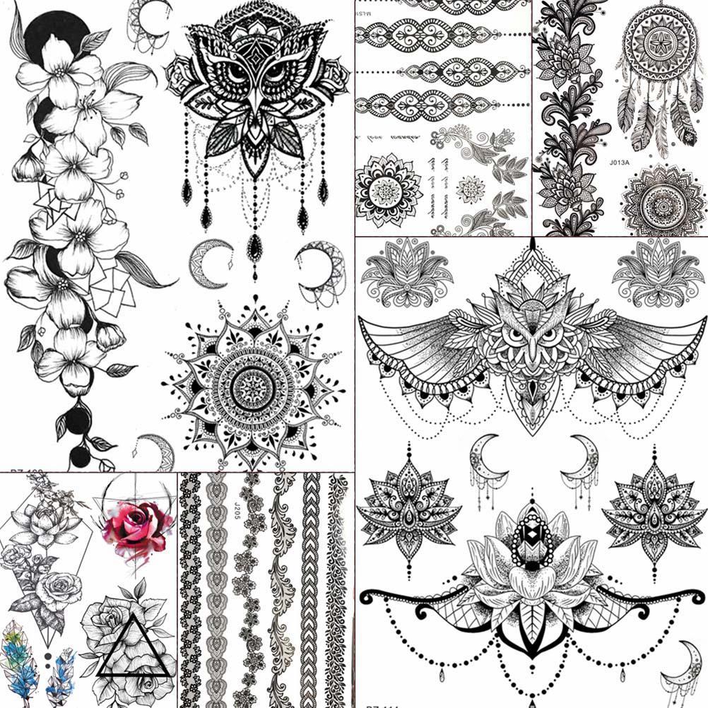 Tatuajes falsos impermeables YURAN, cadenas Mandala, Henna, búho, joyas falsas, Henna negra, Tatuajes Temporales, pegatinas para mujeres y niñas, tatuaje en el brazo