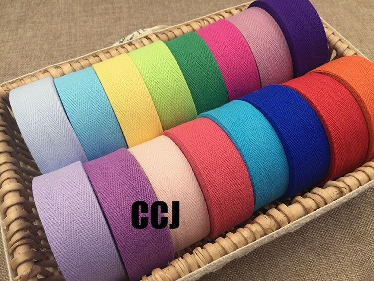 Fita de algodão da sarja do webbing do algodão do heringbone da categoria 3 cm no branco, azul, rosa, amarelo, vermelho, roxo