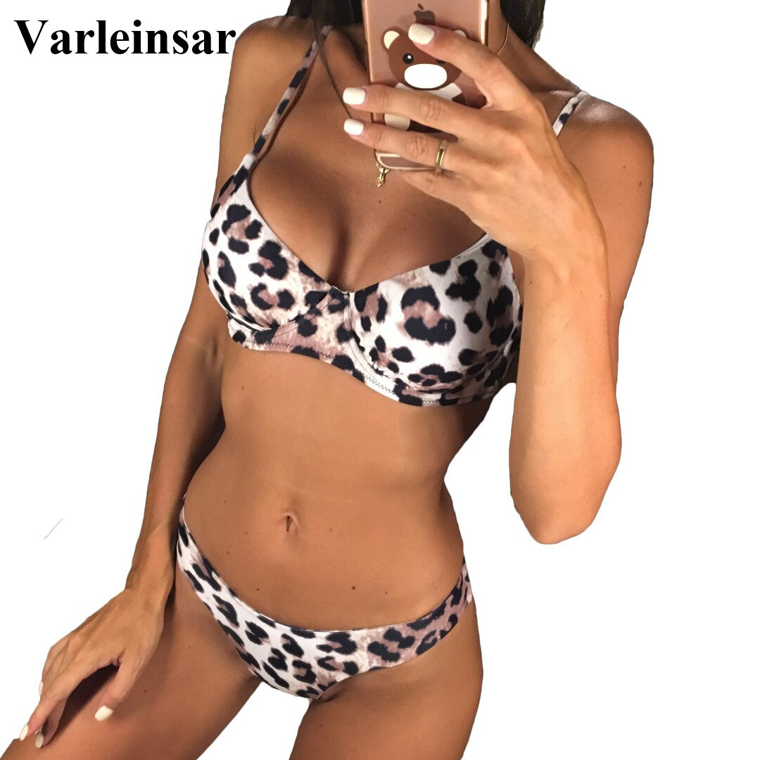 Nuevo Sexy leopardo 2019 Bikini mujeres traje de baño femenino de dos piezas conjunto de Bikini con soporte de aro bañista traje de baño nadar V872