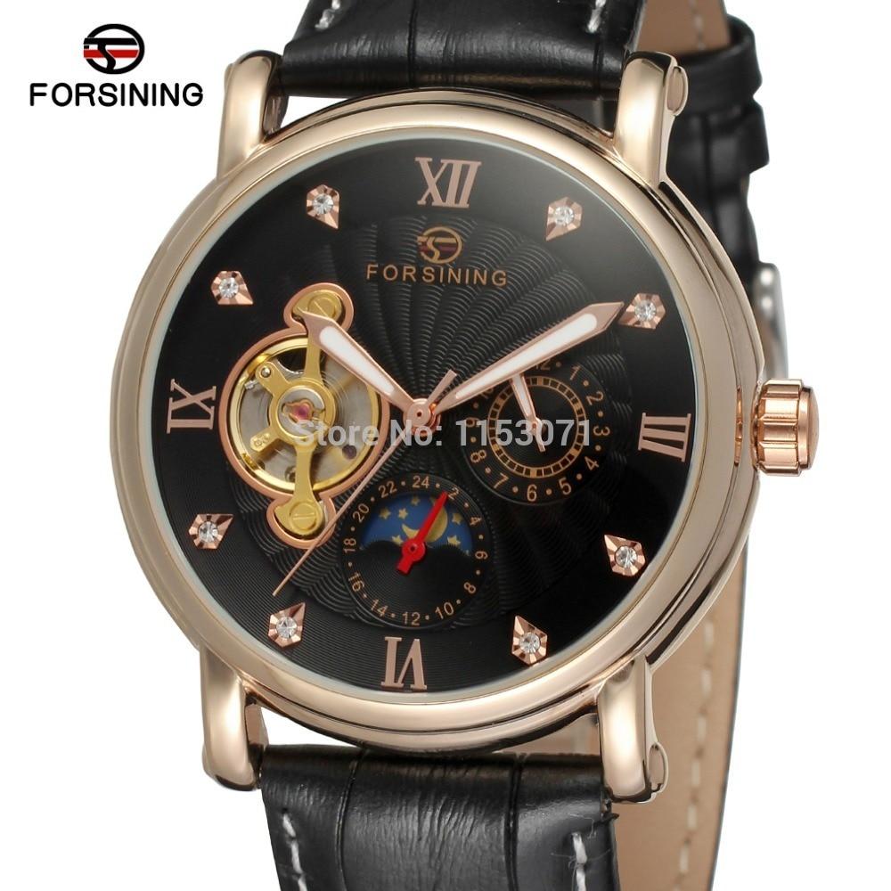 NEW ARRIVE! FORSINING FSG800M3R4 Men Automatic Fashion&Casual rose gold color case black dial black genuine leather strap