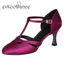 Taille US 4-12 confortable violet brun Tan Salsa Zapatos De Baile talon hauteur 7 cm salle De bal danse chaussures bout fermé pour les femmes NB019