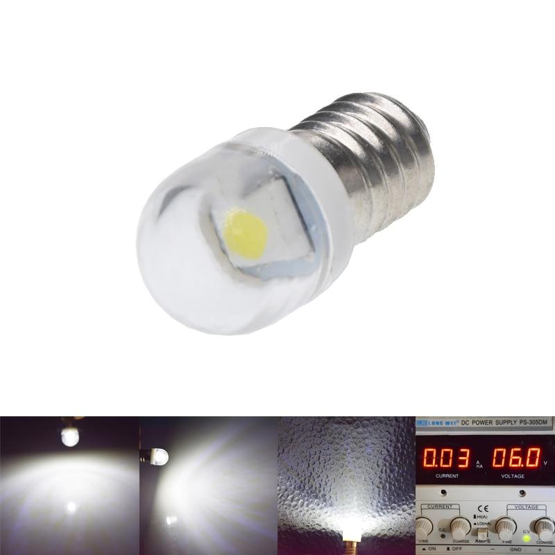 2/4 Pcs E10 Lamp 5050 SMD 1 Led Bulb 6V 3V DC 3 6 Volt White 6000k Mes 1447 Screw BaseLight For Torch Flashlight Bike Bicycle
