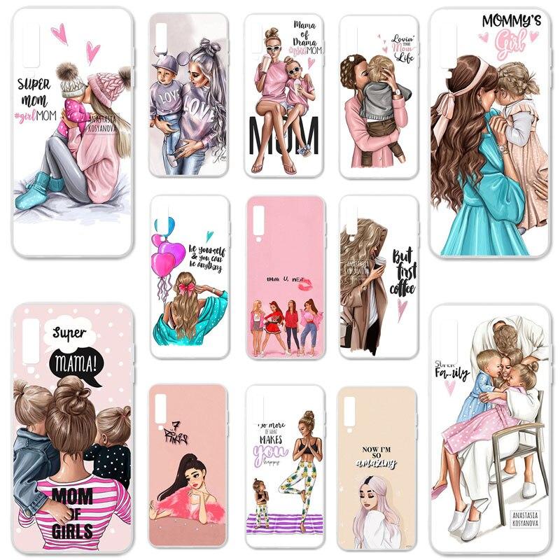 "Soft TPU Silicone Case For Samsung Galaxy A7 2018 A750 SM-A750F A750F A 7 2018 6.0"" Cover Bumper Black Brown Hair Baby Mom Girl"