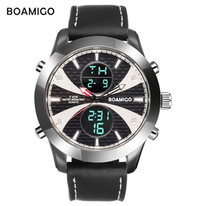BOAMIGO Brand Watches Men Sports Watches LED Watches Leather Digital Wristwatches 30m Water Resistant Quartz Reloj Masculino
