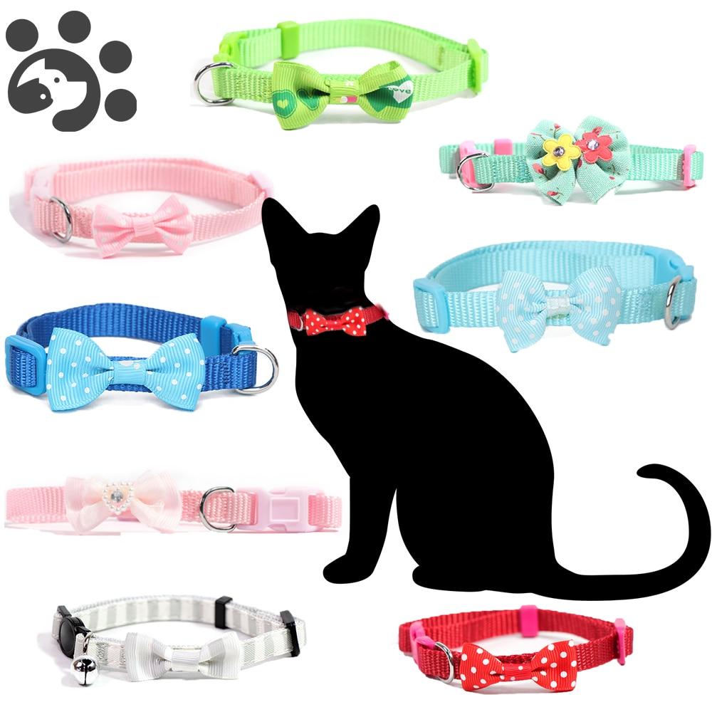 Perro mascota collares para gatos Collar de seguridad de la corbata de lazo escapada collares para mascotas, gatito gatos productos para mascotas Collar