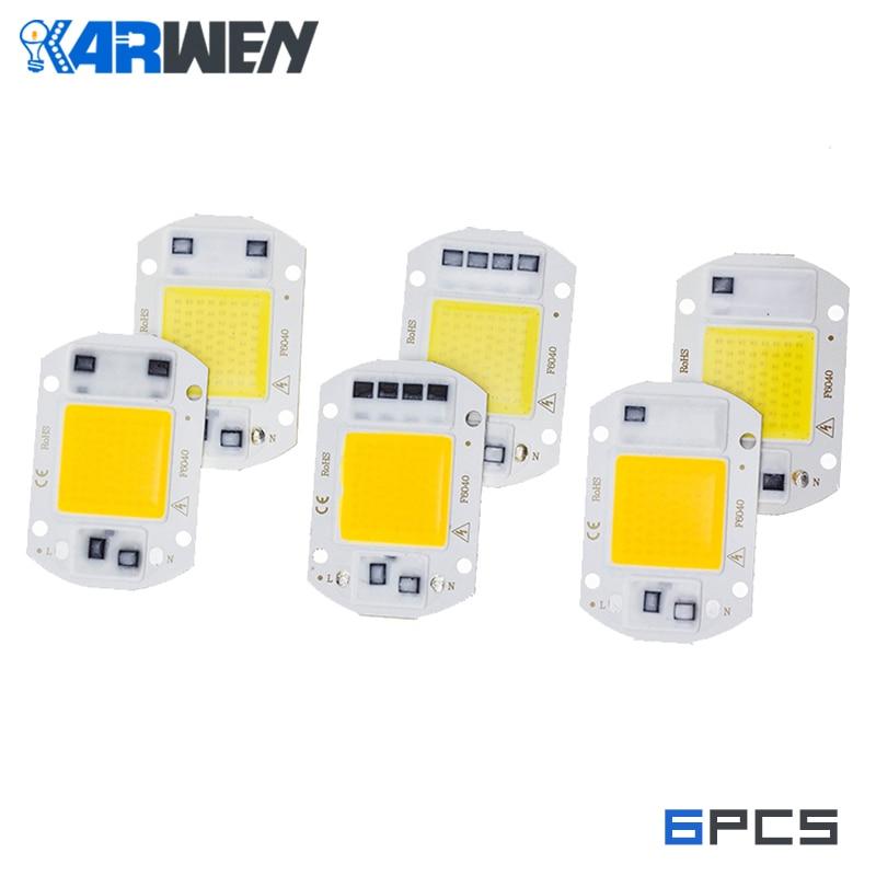 KARWEN 6 шт. LED COB чип лампа 10 Вт 20 Вт 30 Вт 50 Вт 220 В реальная мощность вход IP65 для наружной светодиодной лампы прожектор холодный теплый белый