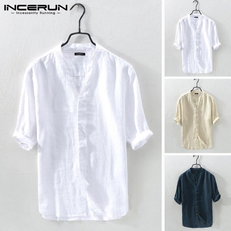 INCERUN, camisas de verano para hombre, camisas de algodón de media manga con cuello en V, camisas de calle Vintage sólidas para hombre, Camisa Masculina Harajuku 2020 5XL