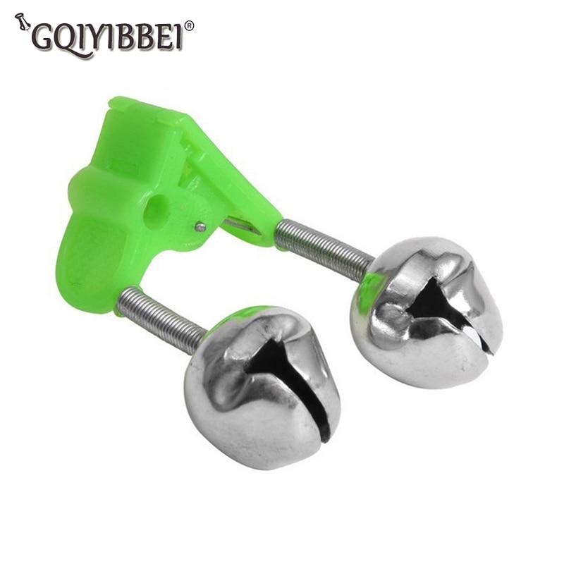 1 piezas noche pescado Rod alarma flotar doble campanas pican campana de acero inoxidable Alerter herramienta de pesca accesorio