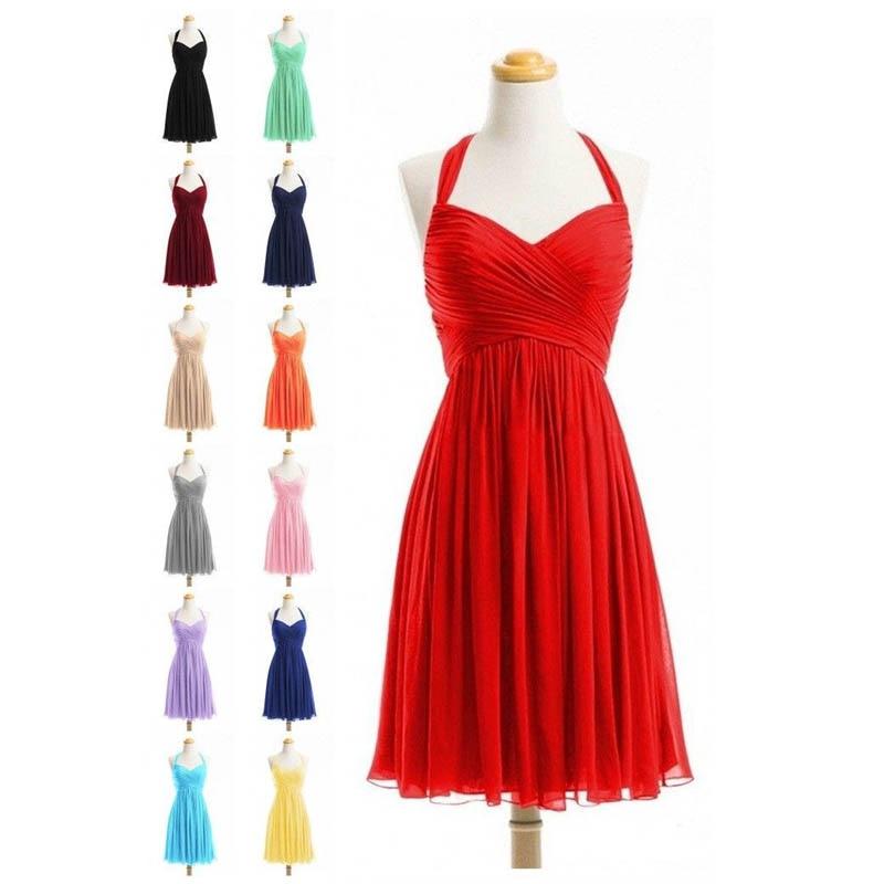 U-SWEAR 2019 Cocktail Dresses Halter Sleeveless A-Line Knee-Length Short Party Dresses Homecoming Formal Dresses Cheap