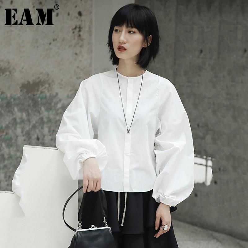 [EAM] 2020 New Spring Summer  Stand Collar Long Lantern Sleeve Temperament White Loose Shirt Women Blouse Fashion Tide JI516