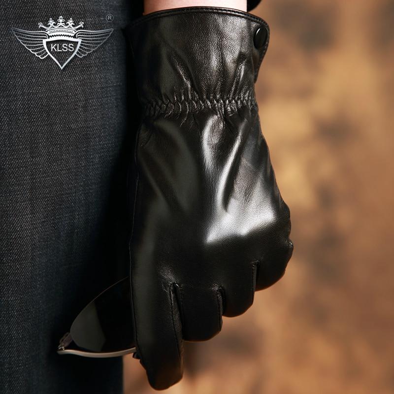 KLSS Brand Genuine Leather Men Gloves High Quality Goatskin Winter Plus Warm Velvet Black Sheepskin Driving Glove 05
