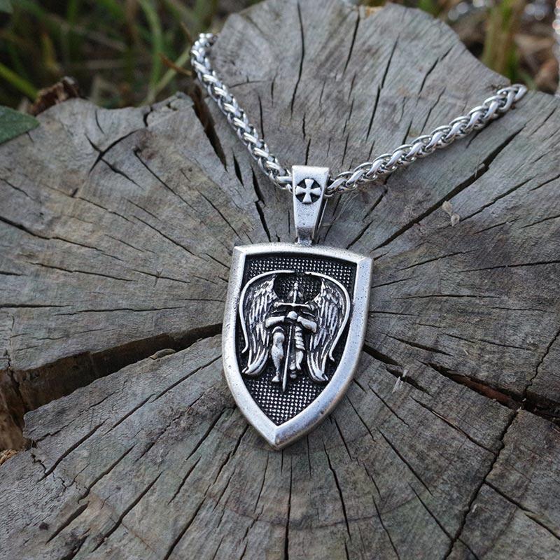 lanseis 1pcs men necklace wing Archangel St.Michael Protect US Saint Shield Protection pendant Religious amulet jewelry
