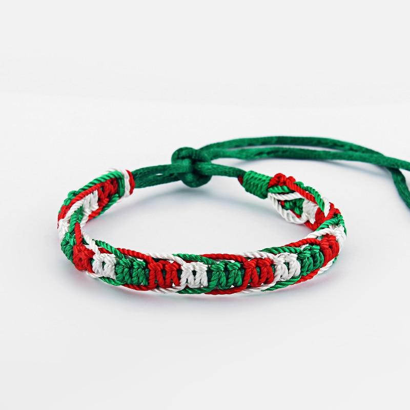 10 mode Italien Flagge Grün Rot Weiß Silk Schnur Macrame Freundschaft Armband Surfer