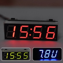 자동차 3 1 LED DIY 디지털 시계 온도 전압 모듈 전자 DC 7 ~ 20V
