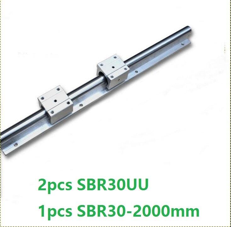 1 pcs SBR30-L 2000mm apoio rail trilho de guia linear + 2 pcs SBR30UU blocos lineares para CNC peças roteador